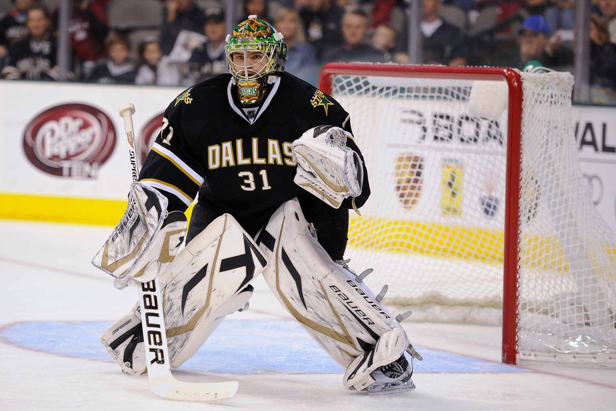 Apr 7, 2012; Dallas, TX, USA; Dallas Stars goalie Richard Bachman (31) faces the St. Louis Blues attack during the game at the American Airlines Center. The Blues defeated the Stars 3-2.  Mandatory Credit: Jerome Miron-US PRESSWIRE