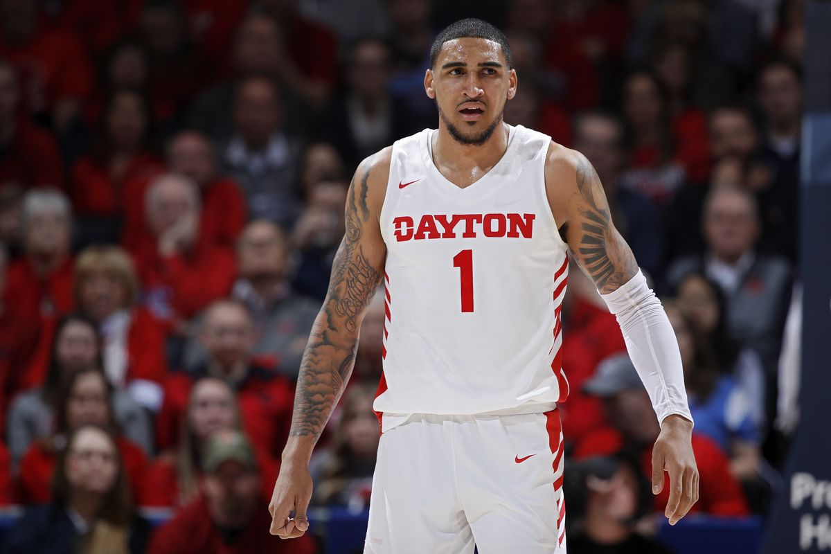 Obi Toppin of the Dayton Flyers looks on during a game against the George Washington Colonials at UD Arena on March 7, 2020 in Dayton, Ohio.