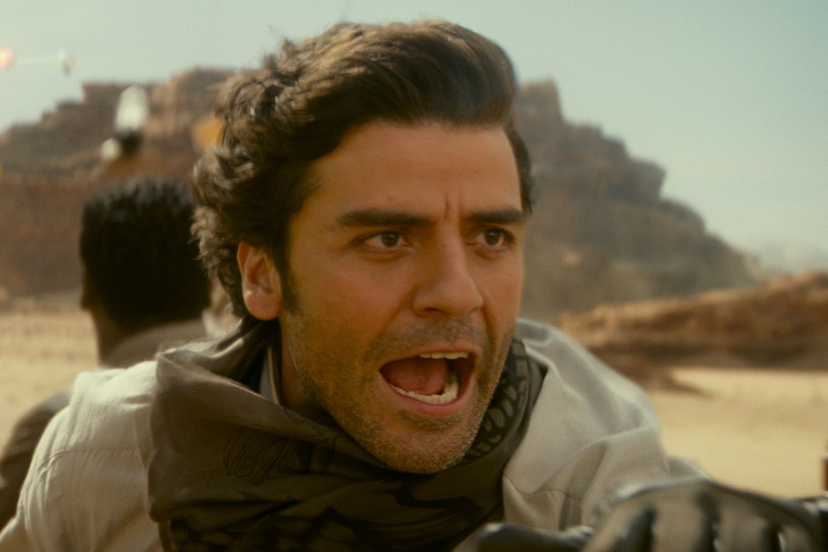 poe screaming on a sand sailboat during a star wars chase scene