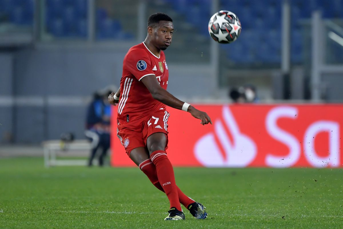 David Alaba of FC Bayern Munchen in action during the...