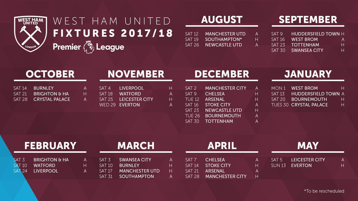 west ham united's 2017/18 schedule released - brace the hammer