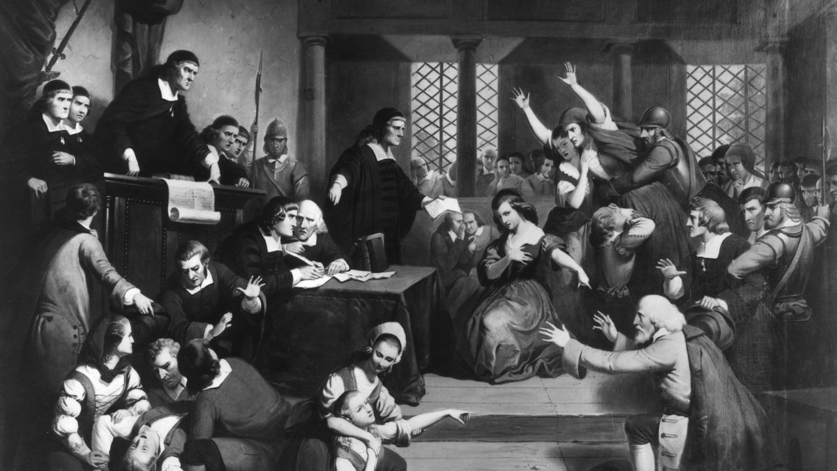 A depiction of the witch trials.