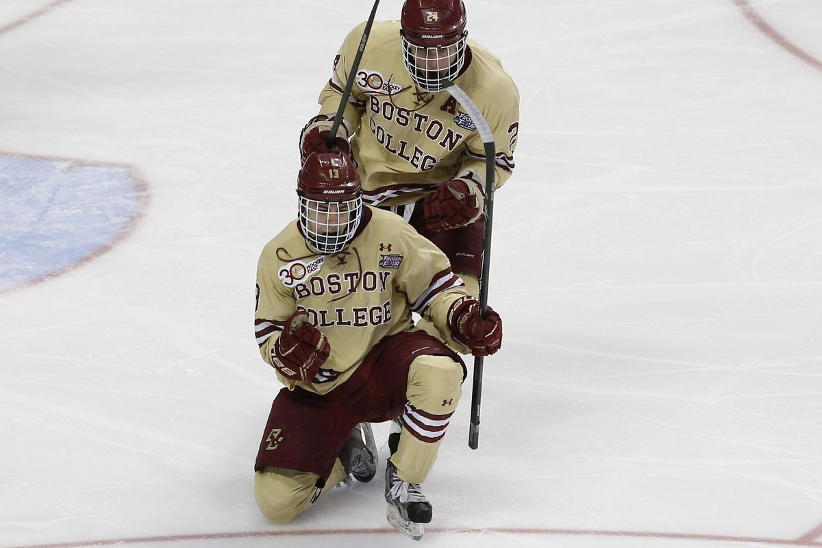 Gaudreau celebrates his first period goal in Thursday's semifinal loss to Union