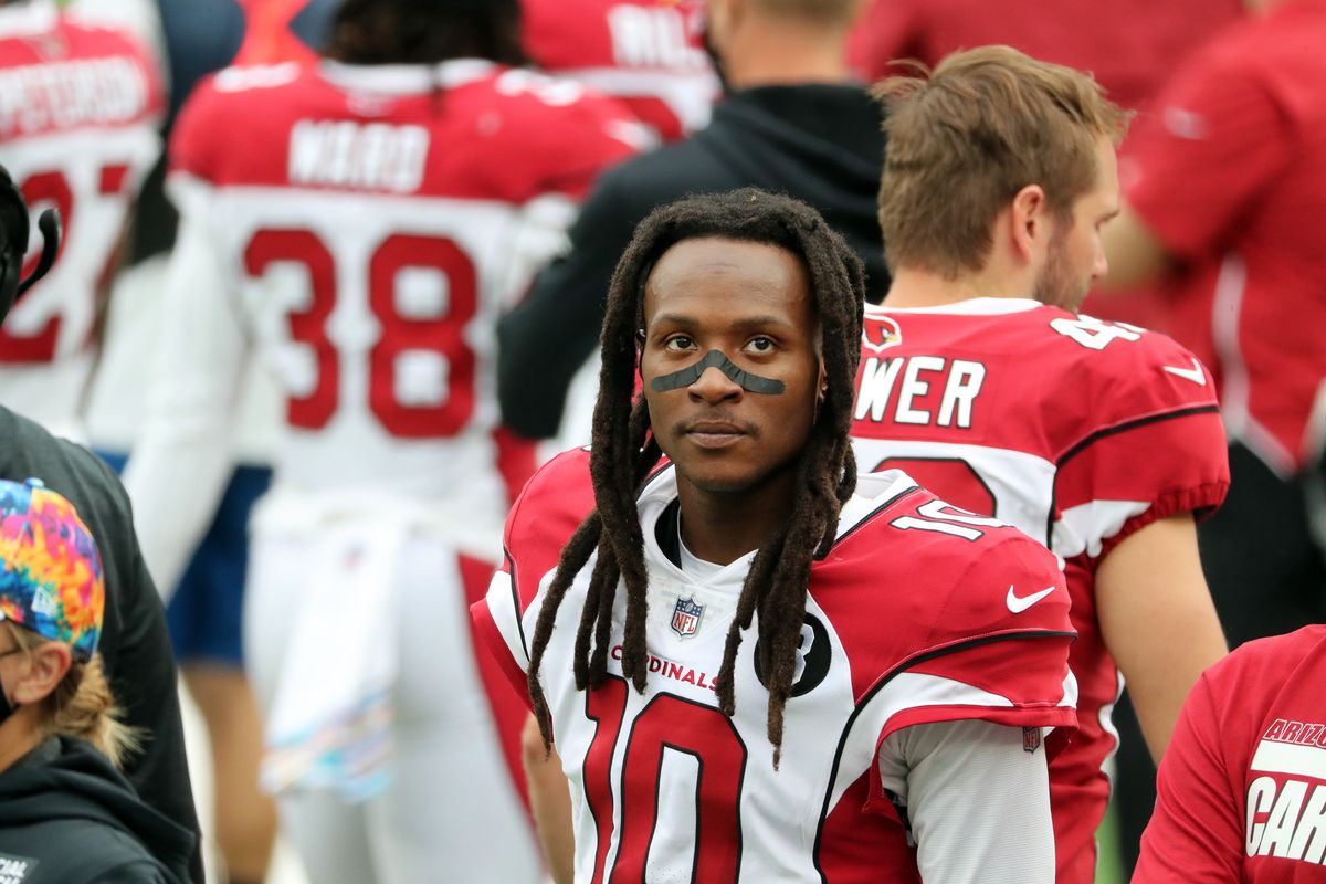 DeAndre Hopkins #10 of the Arizona Cardinals follows the action against the New York Jets at MetLife Stadium on October 11, 2020 in East Rutherford, New Jersey. Arizona Cardinals defeated the New York Jets 30-10.