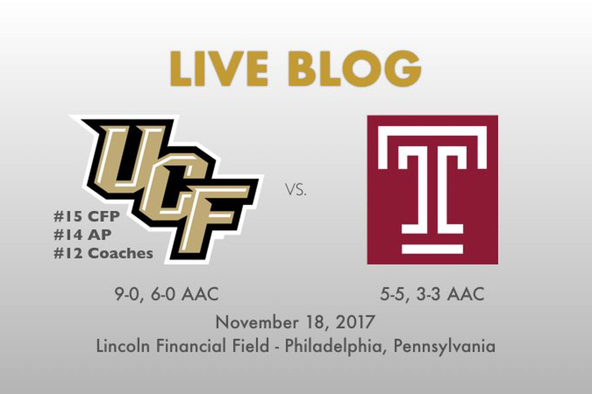 UCF faces Temple in Philadelphia at noon.
