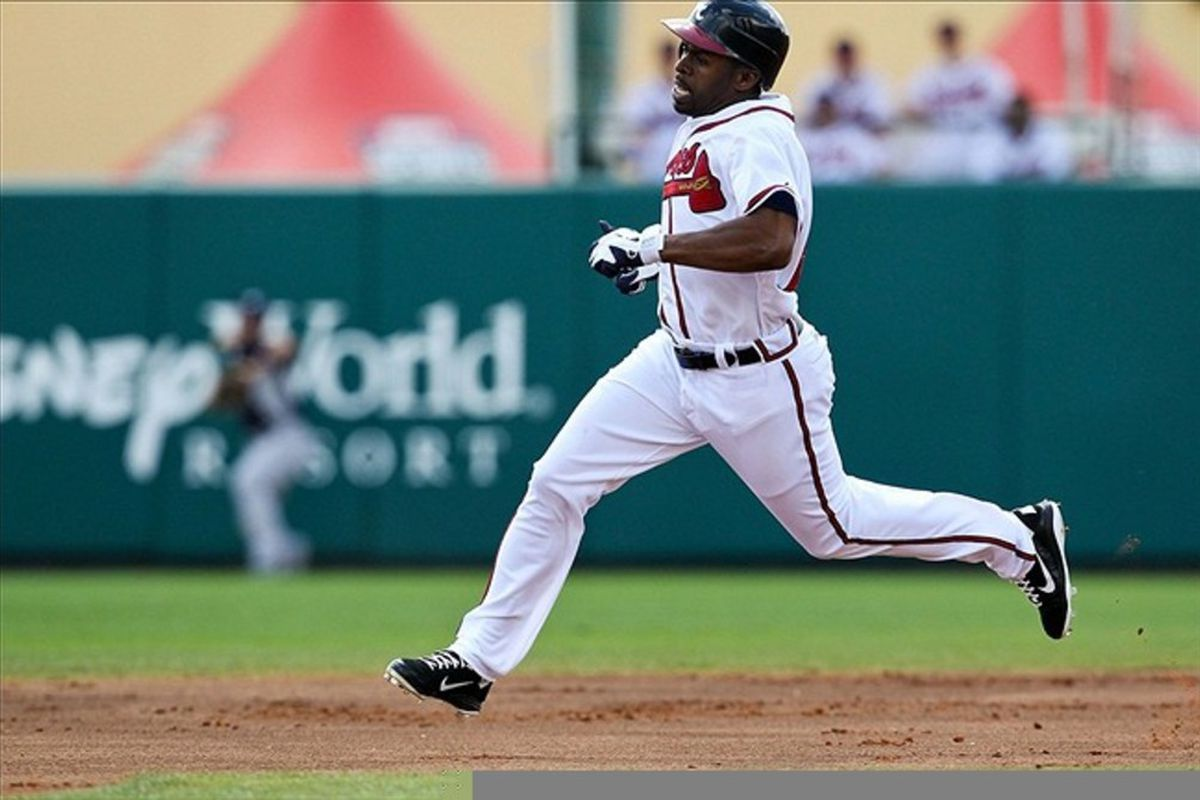 Is Michael Bourn's prolific base-stealing ability enough to make him a top fantasy outfielder? Daniel Shirey-US PRESSWIRE
