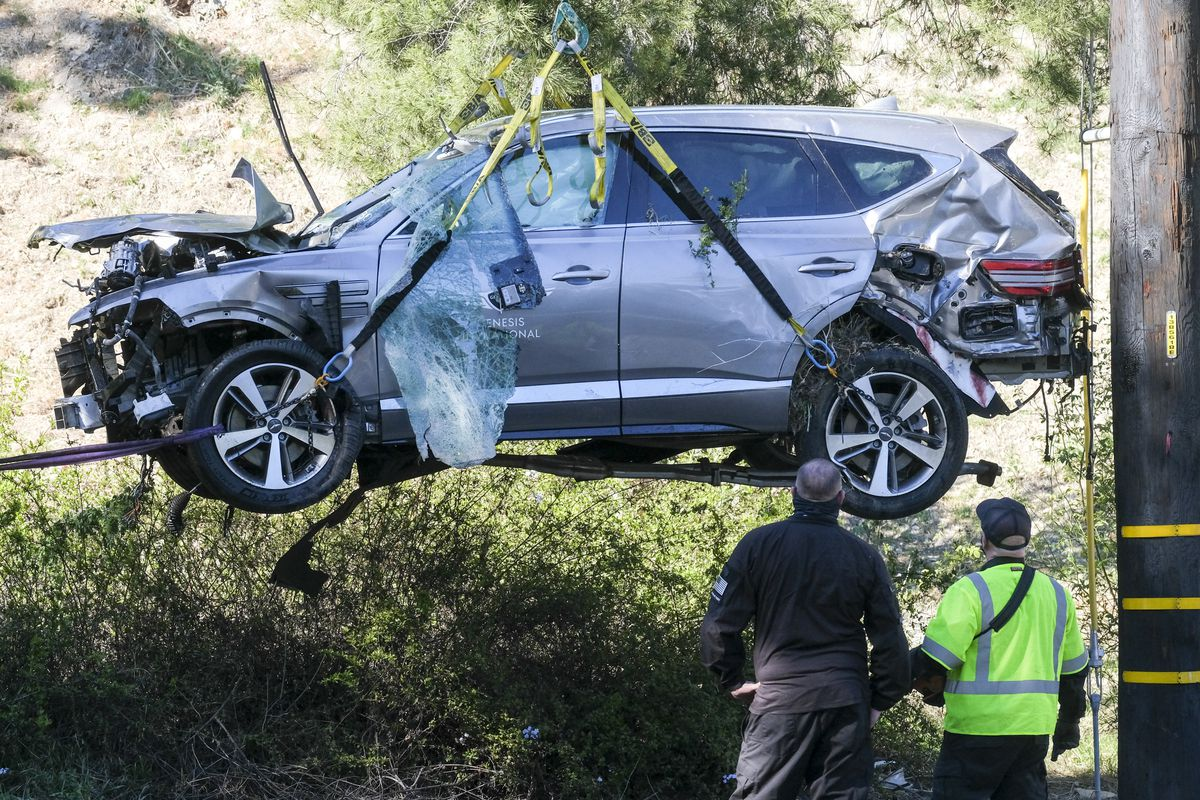 Tiger Woods was driving 84 to 87 mph on a downhill stretch of road outside Los Angeles that had a speed limit of 45 mph, Los Angeles County Sheriff Alex Villanueva said.