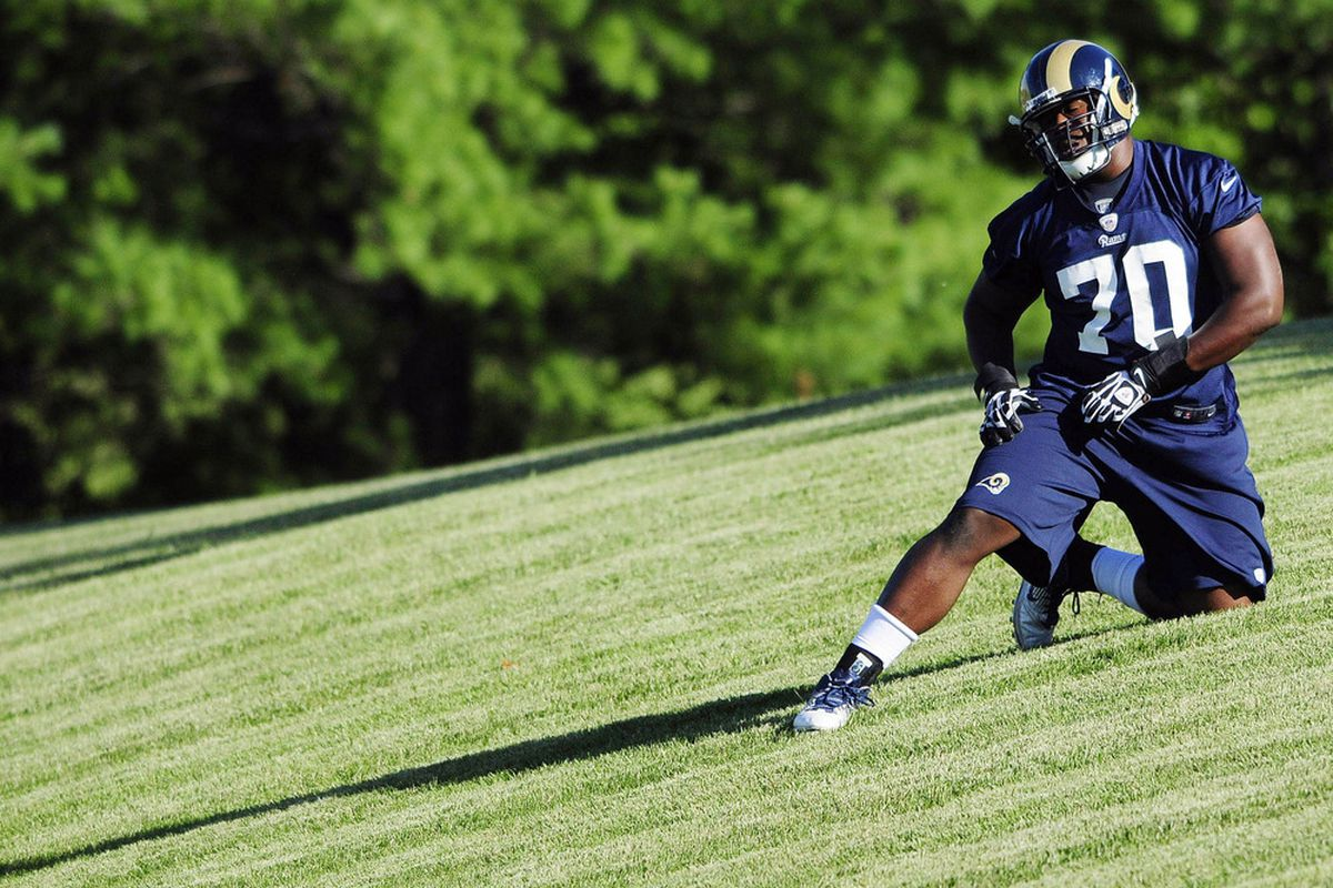 June 12, 2012; St. Louis, MO, USA; St. Louis Rams tackle Kevin Hughes (70) runs a drill during training camp at ContinuityX Training Center. Mandatory Credit: Jeff Curry-US PRESSWIRE