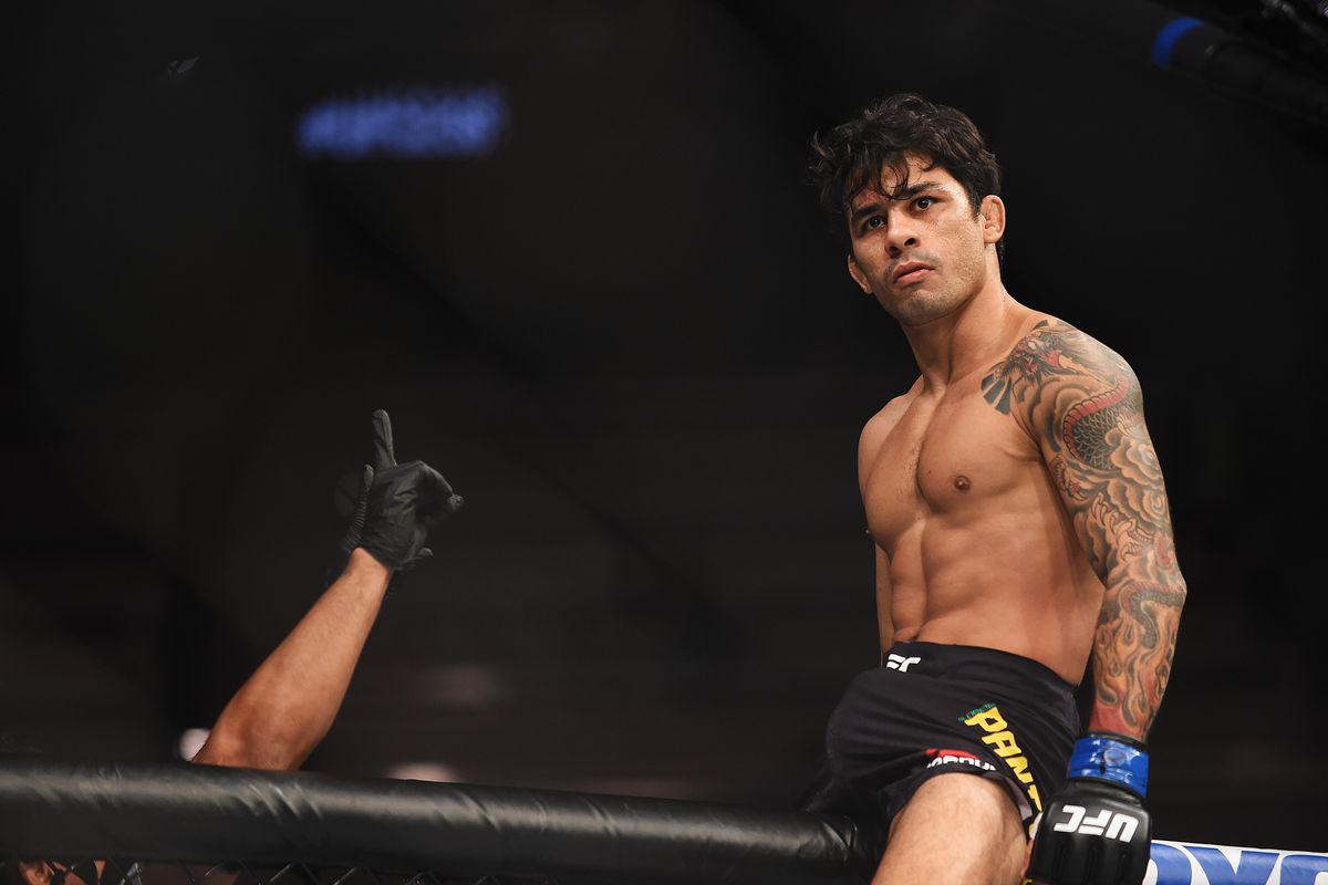 Alexandre Pantoja of Brazil celebrates after defeating Wilson Reis of Brazil during the UFC 236 event at State Farm Arena on April 13, 2019 in Atlanta, Georgia.
