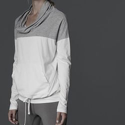 """<b>James Perse Yosemite</b> Funnel Neck Contrast Pullover in White/Grey, <a href=""""http://www.jamesperse.com/yosemite/womens-tops/funnel-neck-contrast-pullover/viewProduct.do?productId=prod1560042&categoryId=cat690017"""">$135</a>"""