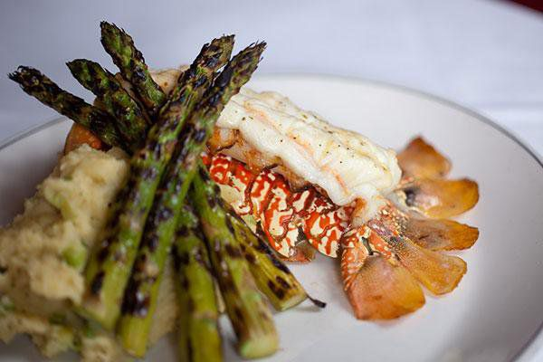 South African lobster tail from Truluck's with mashed potatoes and asparagus