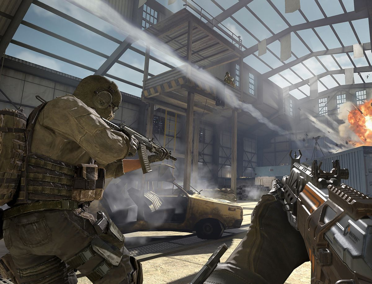 Call of Duty: Mobile screenshot, with a soldier holding a gun toward an explosion