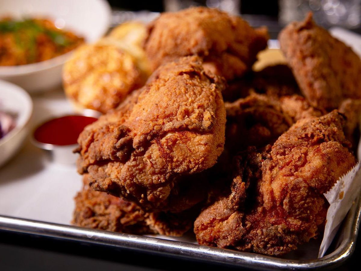 Close-up shot of fried chicken from Roy Boys