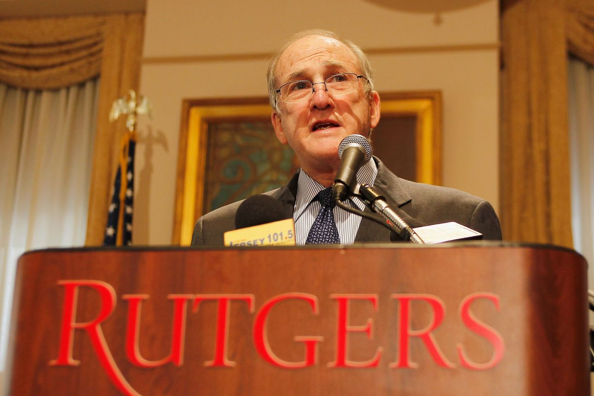 Rutgers University President Robert L. Barchi And Board Of Governors Chair Ralph Izzo Press Conference
