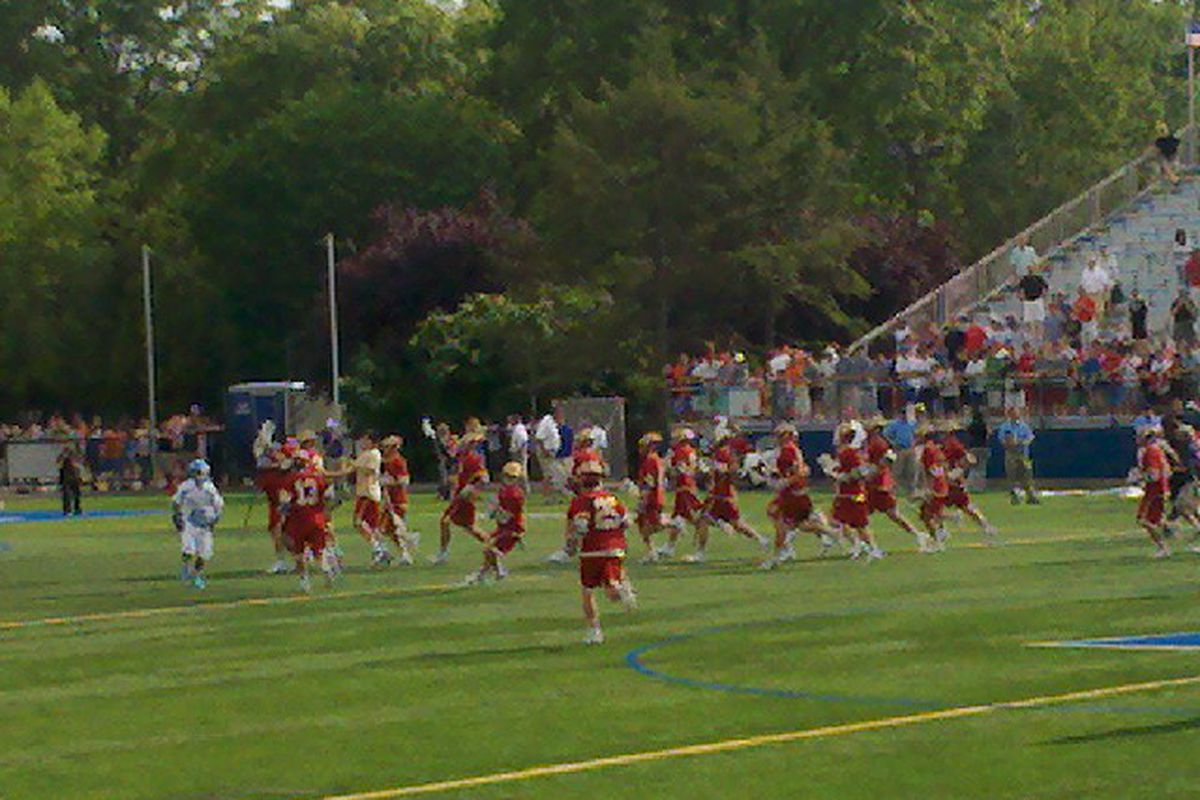 The Denver Pioneers celebrate their 2011 NCAA Lacrosse Tournament victory over the Johns Hopkins  Blue Jays on Saturday, May 21.