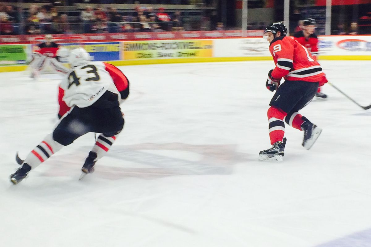 Dzingel dazzles with the puck against the Albany Devils.