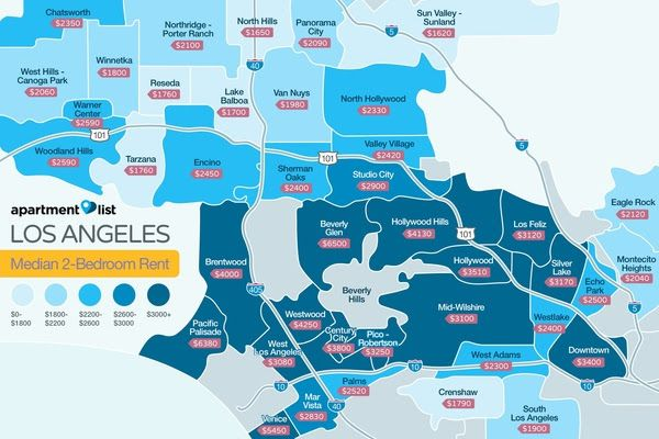 la s most and least expensive rental neighborhoods mapped curbed la. Black Bedroom Furniture Sets. Home Design Ideas