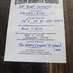"""Liquor license signage at the coming """"laundry/bistro"""" in the EV. [Photo: Elizabeth Chadwick]"""