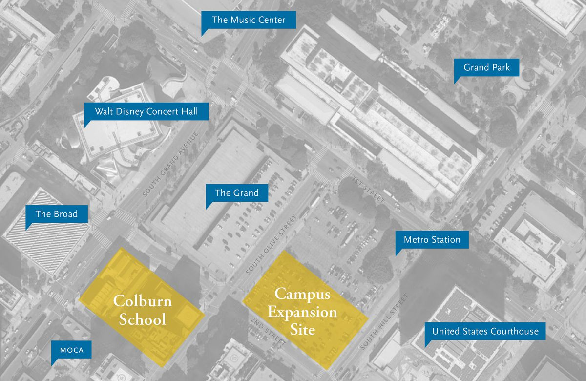 A map of the Colburn School project site