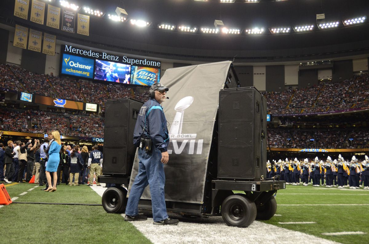 The speaker carts used at the Super Bowl