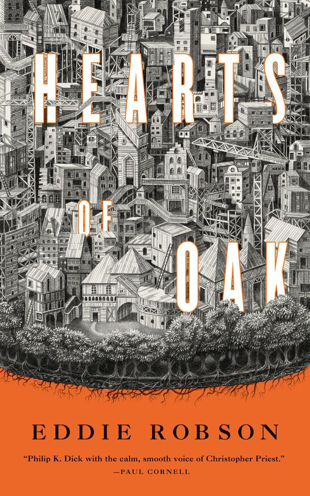 a giant city covers the letters on the cover of Hearts of Oak by Eddie Robson