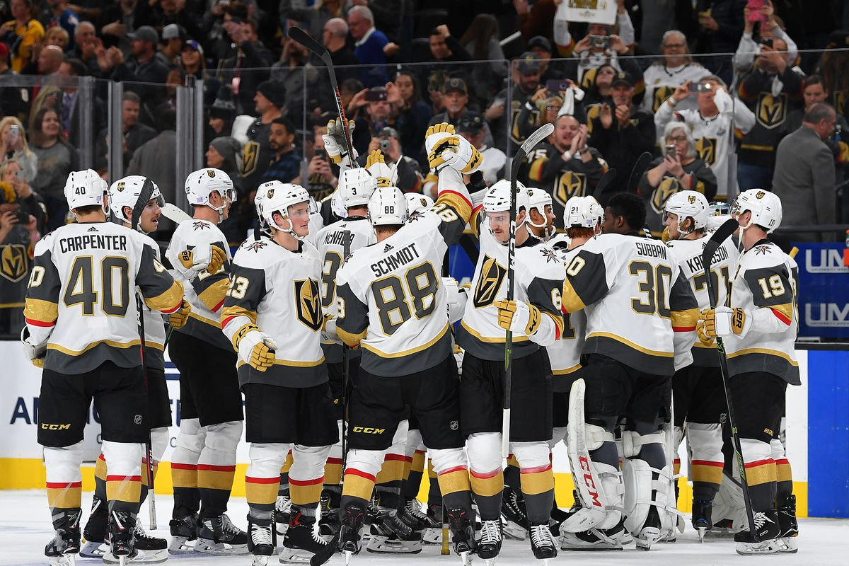 Nov 23, 2018; Las Vegas, NV, USA; Vegas Golden Knights players celebrate after defeating the Calgary Flames 2-0 at T-Mobile Arena.