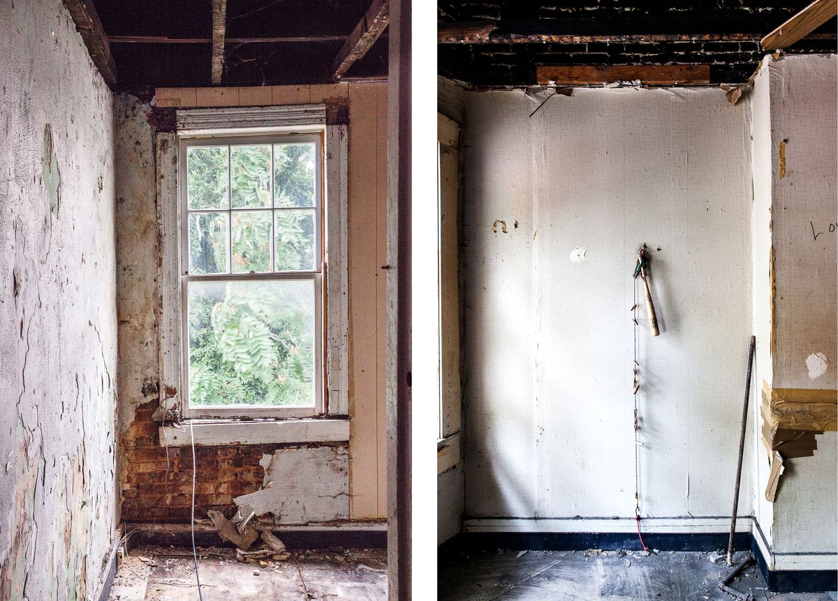 Two different rooms in a vacant home in Baltimore.