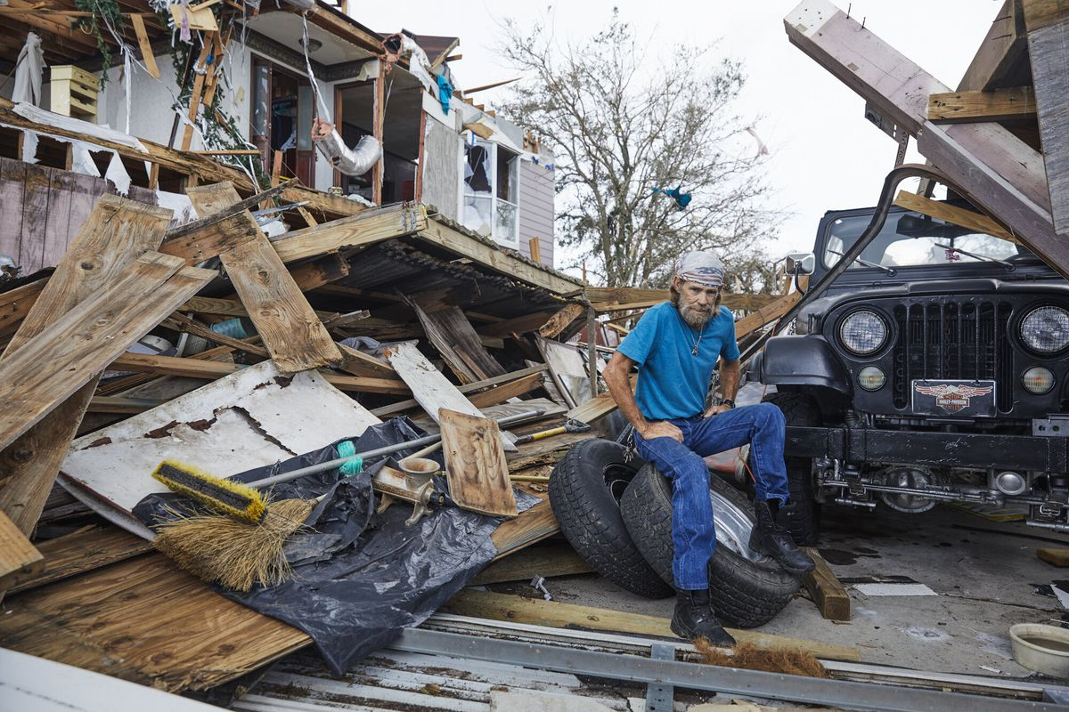 Aftermath of Hurricane Laura in Lake Charles, Louisiana