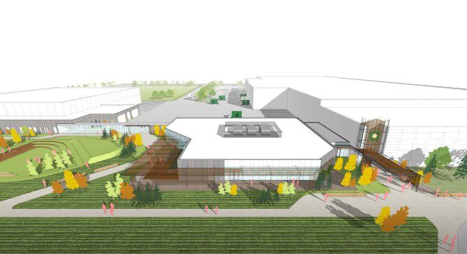 A rendering of a complex with green grass and a white one-story building.