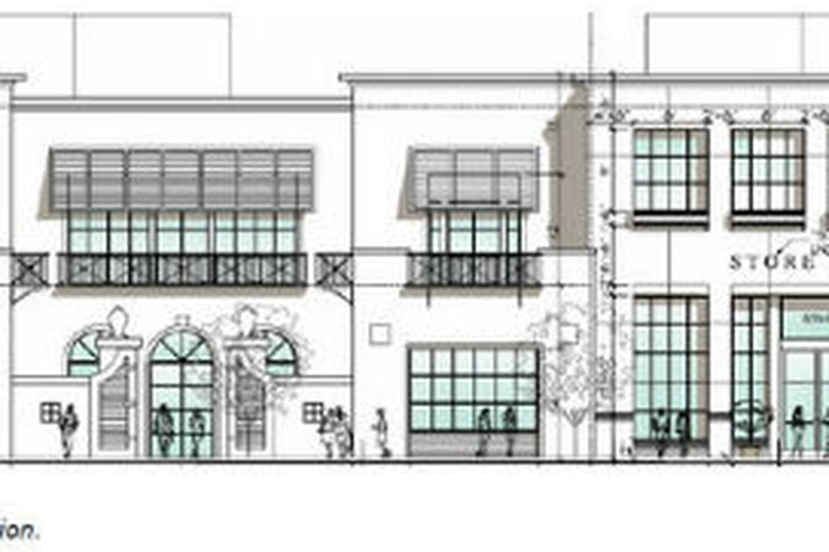 """The showroom planned for Melrose Ave. Sketch via <a href=""""http://westhollywood.patch.com/articles/controversial-melrose-showroom-building-get-approval#photo-9668895"""">West Hollywood Patch</a>."""
