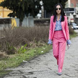 Gingham shirt worn with a Gucci suit during Milan Fashion Week fall 2016.