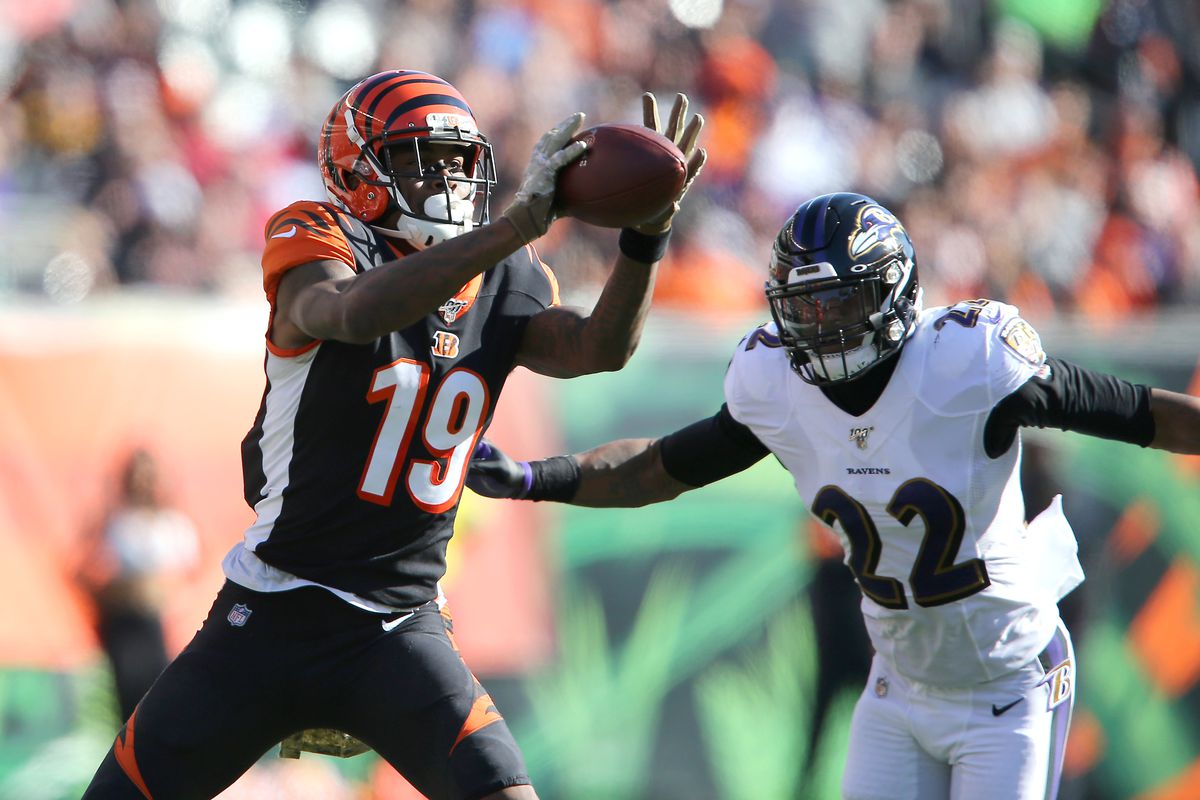 Cincinnati Bengals wide receiver Auden Tate makes a catch against Baltimore Ravens cornerback Jimmy Smith during the second quarter at Paul Brown Stadium.