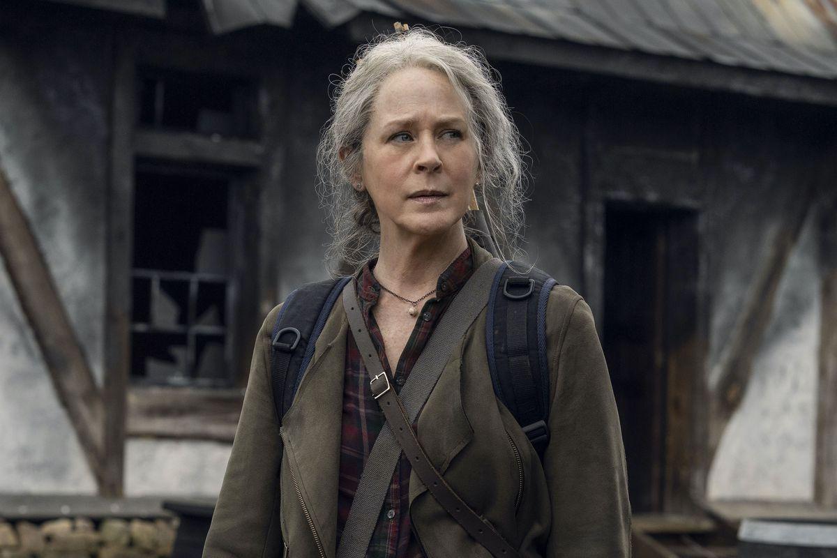 Melissa McBride as Carol Peletier in Season 11 of The Walking Dead.