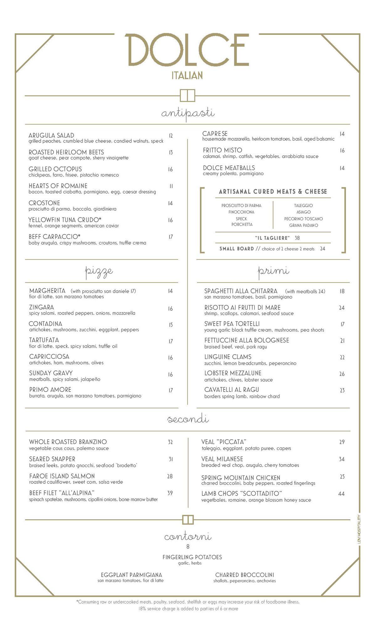 Dolce Italian menu