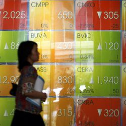 An Indonesian woman walks past an electronic stock board at the Jakarta Stock Exchange in Jakarta, Indonesia, Wednesday, Sept. 19, 2012. Asian stock markets rose Wednesday after the Bank of Japan became the latest major central bank to announce action to shore up fragile economic growth.