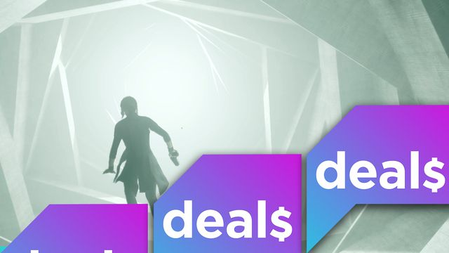 The Polygon Deals logo over a screenshot from Control where protagonist Jessie floats over a twisted hallway.