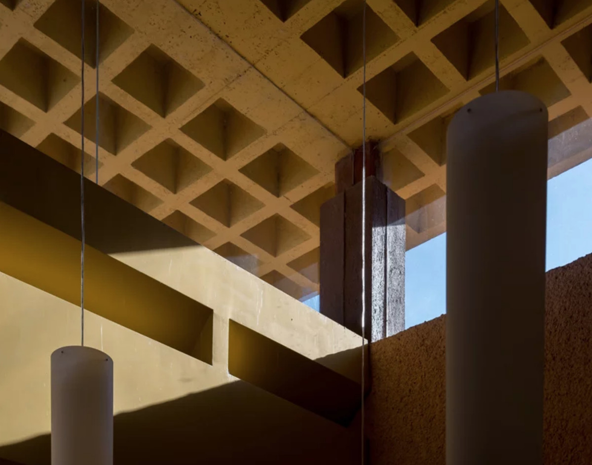Yellow grid ceiling and window