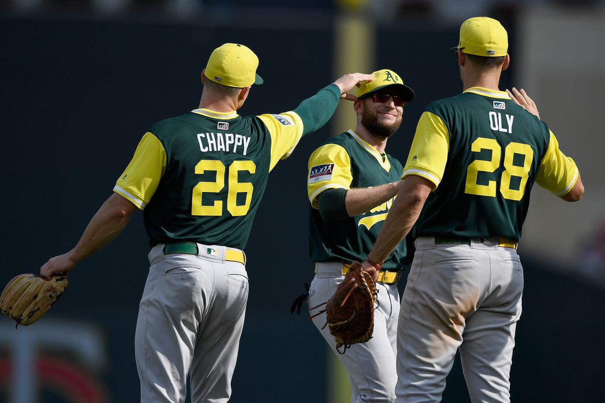 detailed look 47e08 7a98b Oakland A's entire infield named Gold Glove finalists ...