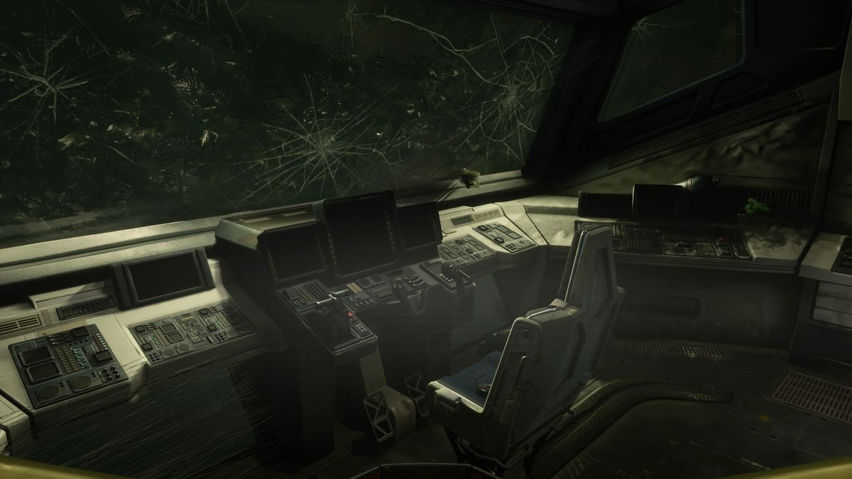 The interior of Selene's crashed spaceship in Returnal
