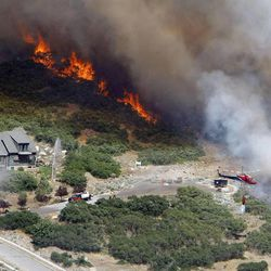 Crews work to stop a wildfire burning Quail Canyon in Alpine Tuesday, July 3, 2012.