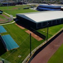 Another aerial view of batting cage building