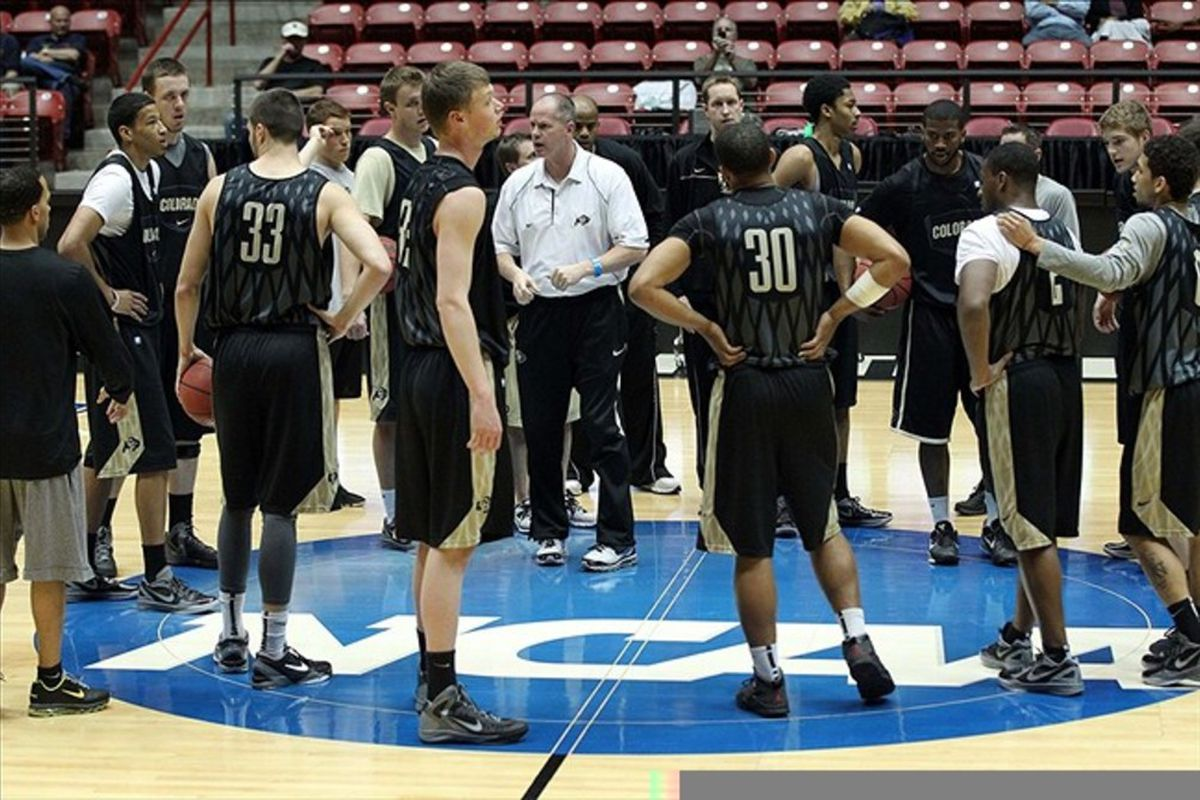 Mar 14, 2012; Albuquerque, NM, USA; Colorado Buffaloes head coach Tad Boyle talks to his team during practice for the second round of the 2012 NCAA men's basketball tournament at the Pit.  Mandatory Credit: Nelson Chenault-US PRESSWIRE