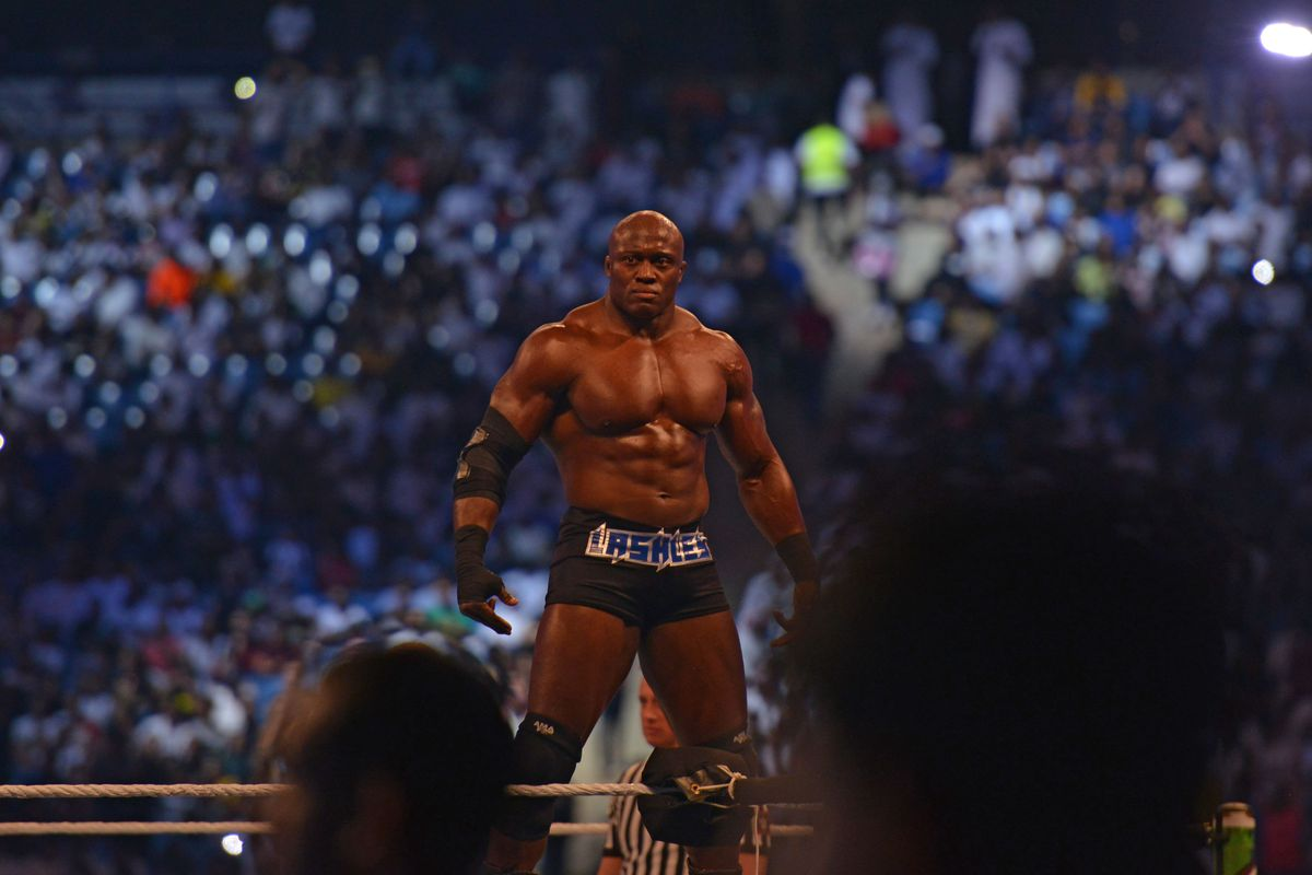 Bobby Lashley stands in the ring prior to his fight during the World Wrestling Entertainment (WWE) Crown Jewel pay-per-view in Riyadh on October 31, 2019.