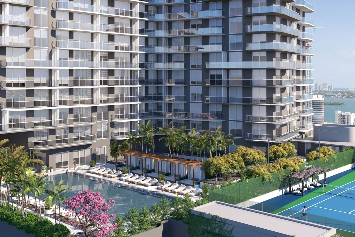 Rendering of a high-rise apartment with midtown with a pool and tennis court in the foreground and lush landscaping