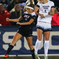 UNLV Sophie Cortes (11) and BYU Paige Hunt (9) head the ball as BYU and UNLV play in the first round of the NCAA tournament in Provo on Friday, Nov. 11, 2016.