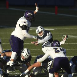 Brigham Young Cougars place kicker Jake Oldroyd (39) follows through as he nails a 53-yard field goal during a game against North Alabama in Provo on Saturday, Nov. 21, 2020.