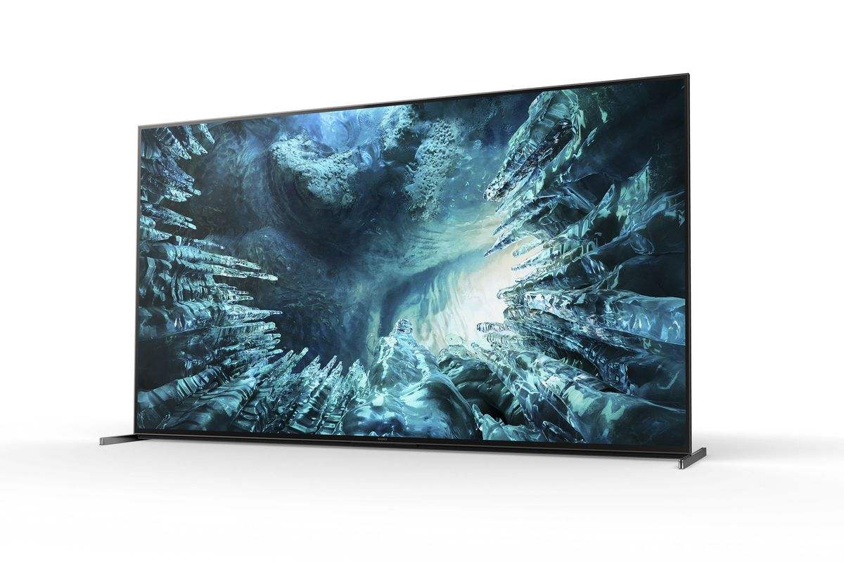 a front angle view from the right side of the Sony Z8H 8K TV, showing icicles on the screen