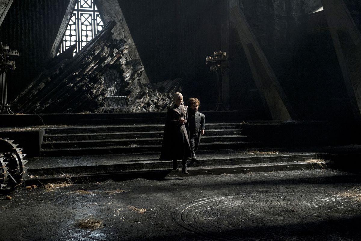 a753e441 Daenerys Targaryen (Emilia Clarke) and Tyrion Lannister (Peter Dinklage) in  the throne room of Dragonstone. Helen Sloan/HBO