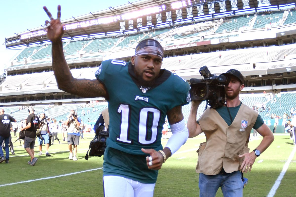Philadelphia Eagles wide receiver DeSean Jackson runs off the field after win against the Washington at Lincoln Financial Field.