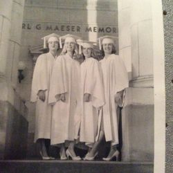 Lorraine Fullmer stands with her friends in front of the Karl G. Maeser Building on graduation day in May 1959.
